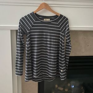 Hollister gray and white striped top